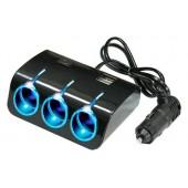 Разветвитель прикуривателя 12/24V на 3 гнезда 120W + 2 х USB разъема 5V-1.2 А, с выкл., св. подсв.