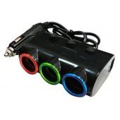 Разветвитель прикуривателя 12/24V на 3 гнезда 120W + 2 х USB разъемa 5V-2.1 А, 1 А, с выкл.