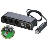 Разветвитель прикуривателя 12/24V на 4 гнезда 120W + 2 х USB разъема 5V-1 А