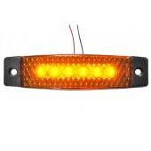 Фонарь габаритный LED 24V, желтый (30x130мм, 6-светодиодов) L0075YELLOW